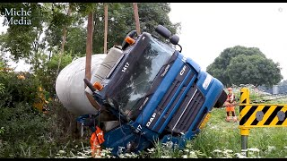BERGING : Vrachtwagen met vloeibaar beton op zijn kant (DAF CF) 🚚