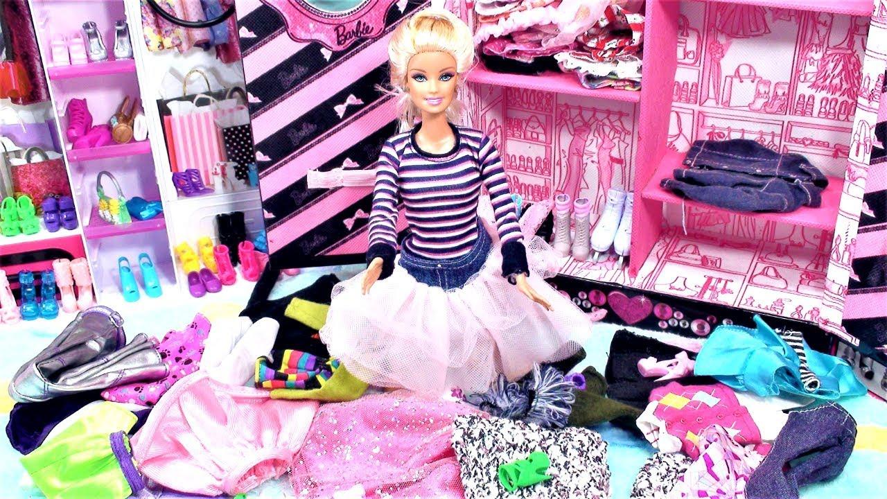 Barbie dream house pink bedroom barbie doll closet clean for Barbie dream house bedroom