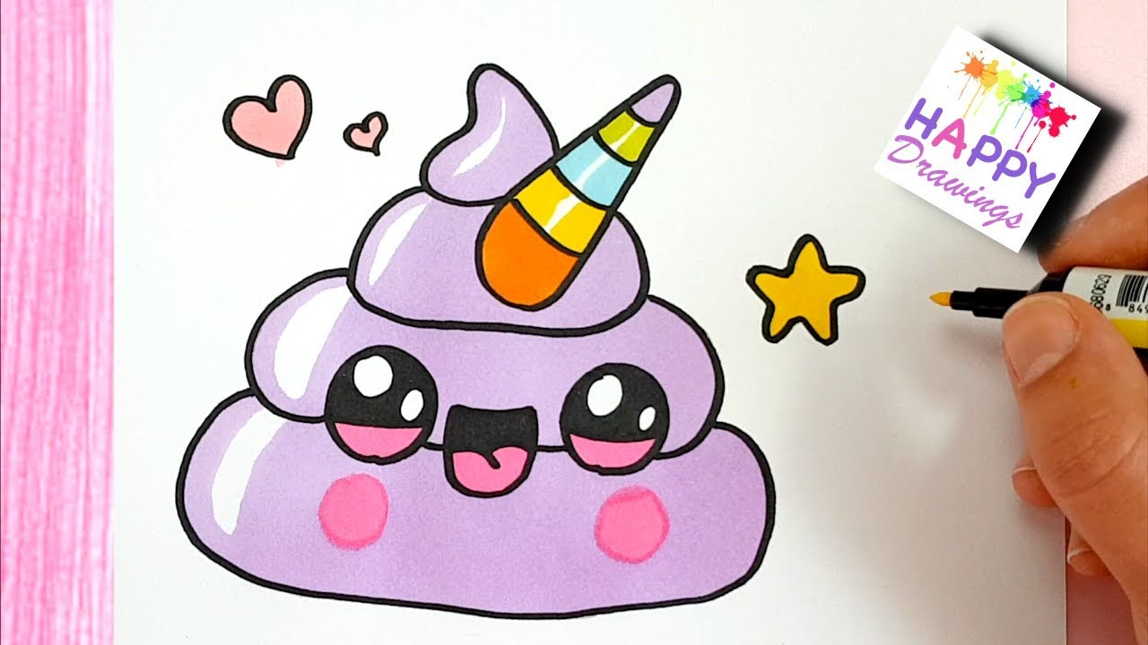 How to Draw Cute Rainbow Unicorn Emoji Poop - STEP BY STEP ...