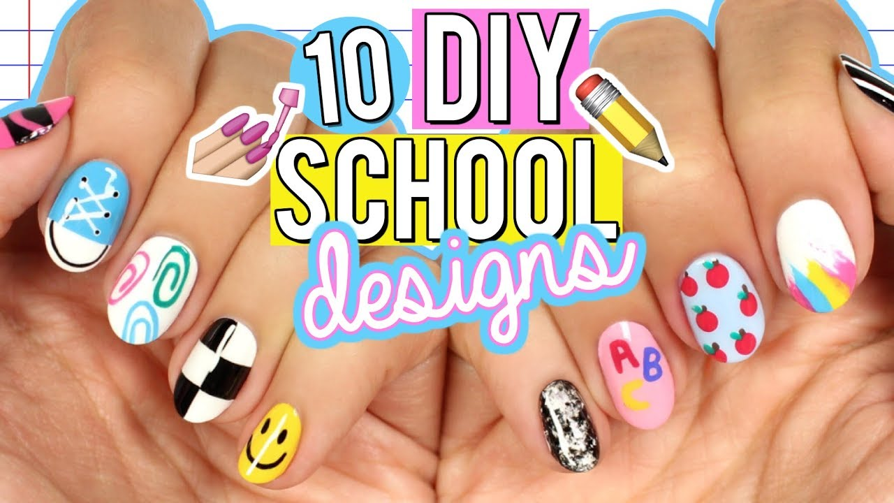 10 Diy Back To School Nail Art Designs The Ultimate Guide 2017 Youtube
