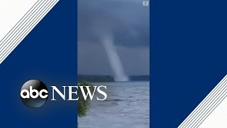 Giant waterspout forms over lake in Canada