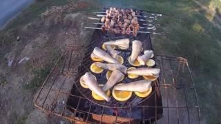 шашлык и рыба на апельсинах