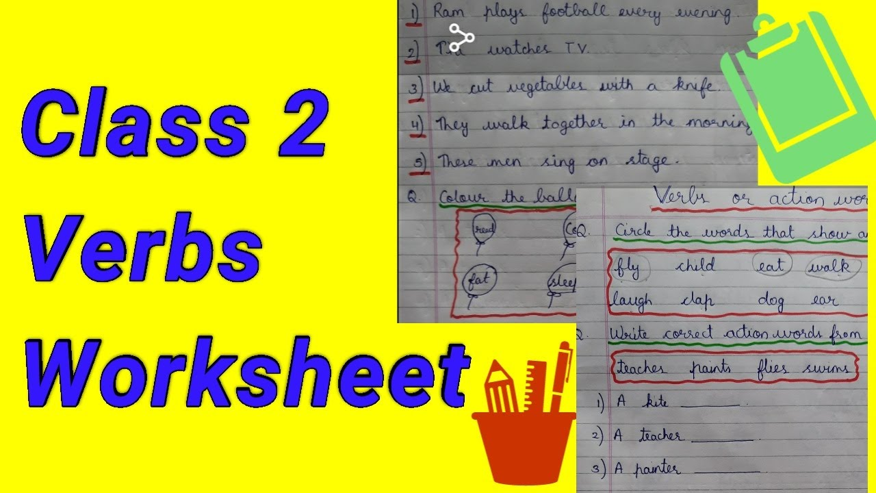 small resolution of Verbs Worksheets for grade 1 and 2    Verbs worksheet    english grammar  worksheets for class 2 - YouTube