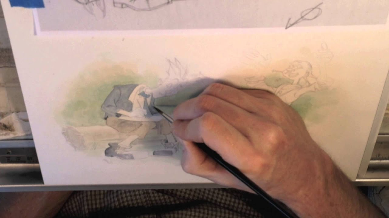 brian bowes childrens story book illustration watercolor demonstration youtube - Kids Paint Book