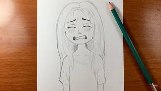 رسم بنت صغيرة تبكي من الحزن | رسم بالرصاص