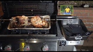 2 Rotisserie Turkey Breasts Weber Genesis II E-310 Propane Gas Grill