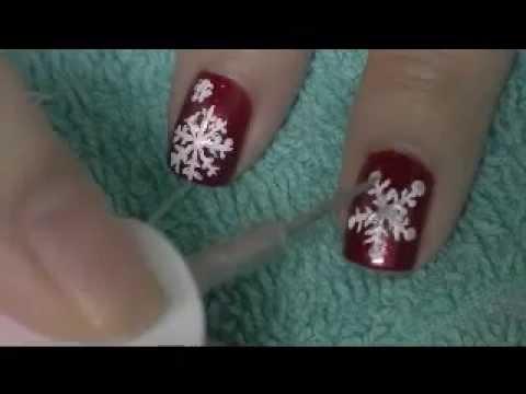 Diy Snowflake Nail Art Youtube