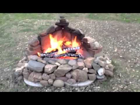 Rock fire pit on a california ranch youtube for Firerock fireplace cost