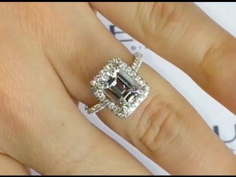 3 carat Emerald Cut Diamond Halo Engagement Ring - YouTube