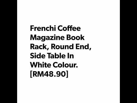 Frenchi Coffee Magazine Book Rack, Round End, Side Table In White Colour.