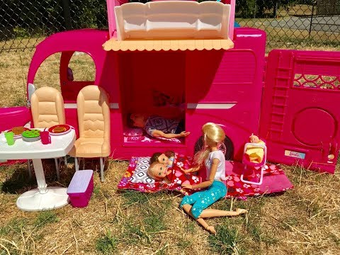 Barbie CAMPER! Barbie family goes CAMPING!