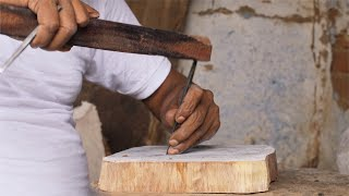 Block Printing - A craftsman carving design to make a wooden stamp