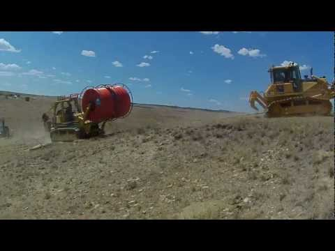TerraSpan Utility Plow Train   Fiber Duct Plowing   Eastern Wyoming  Komatsu Cable Plow2