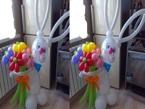 Заяц из воздушных шаров своими руками. Rabbit of balloons with their own hands.