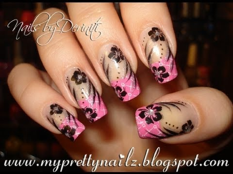 Easy Patterned French Tips And Hibiscus Flowers Nail Art Stamping