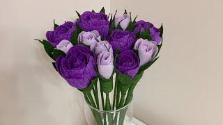 Розы из гофрированной бумаги. Как сделать Цветок из бумаги