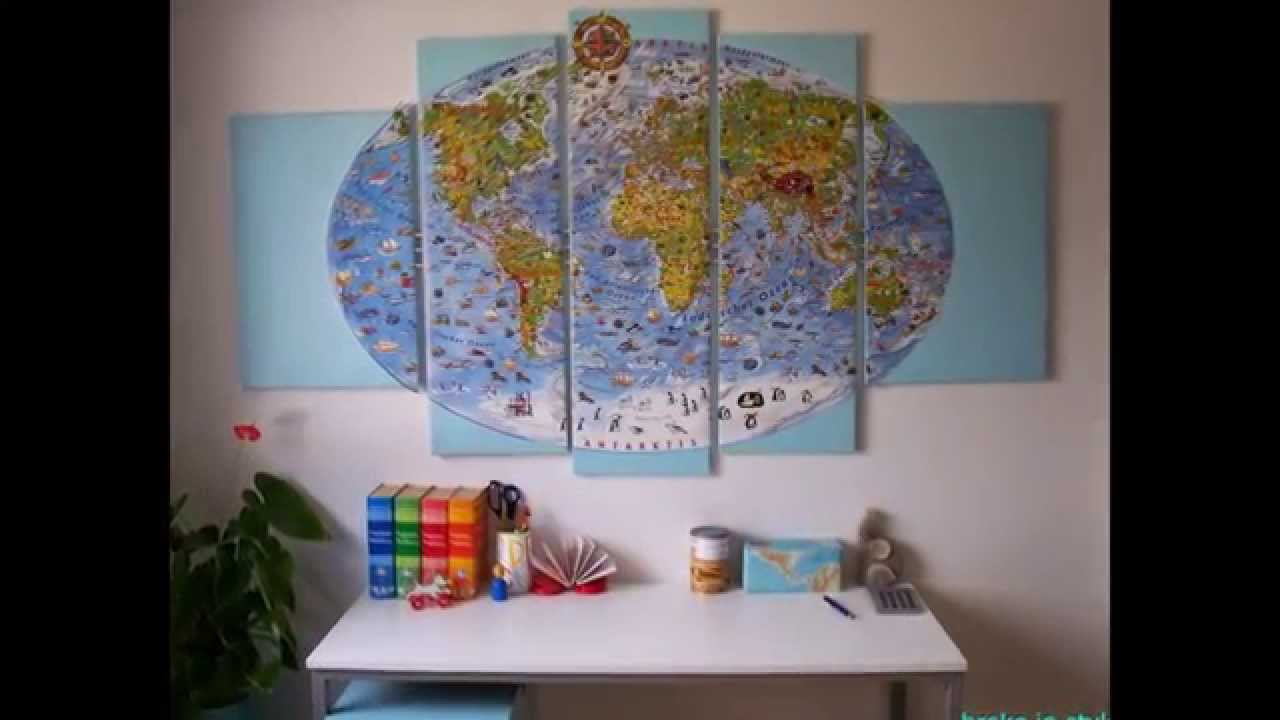 Diy kinderzimmer deko wandbild weltkarte youtube for Deko kinderzimmer