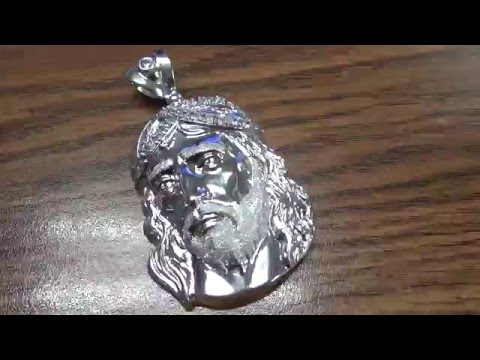 MENS 10K WHITE GOLD JESUS HEAD CZ TEXTURED PENDANT CHARM 2.71