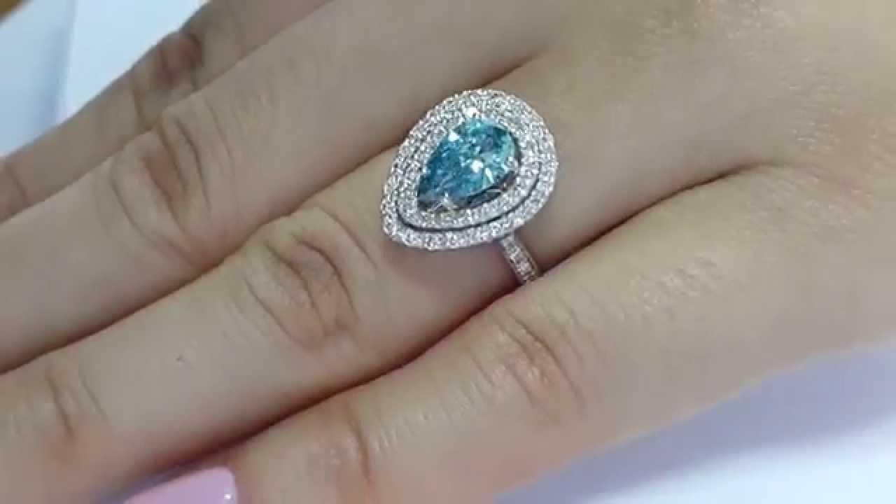 1.40 Carat Pear Shape Blue Diamond Engagement Double Halo Ring 14K ...