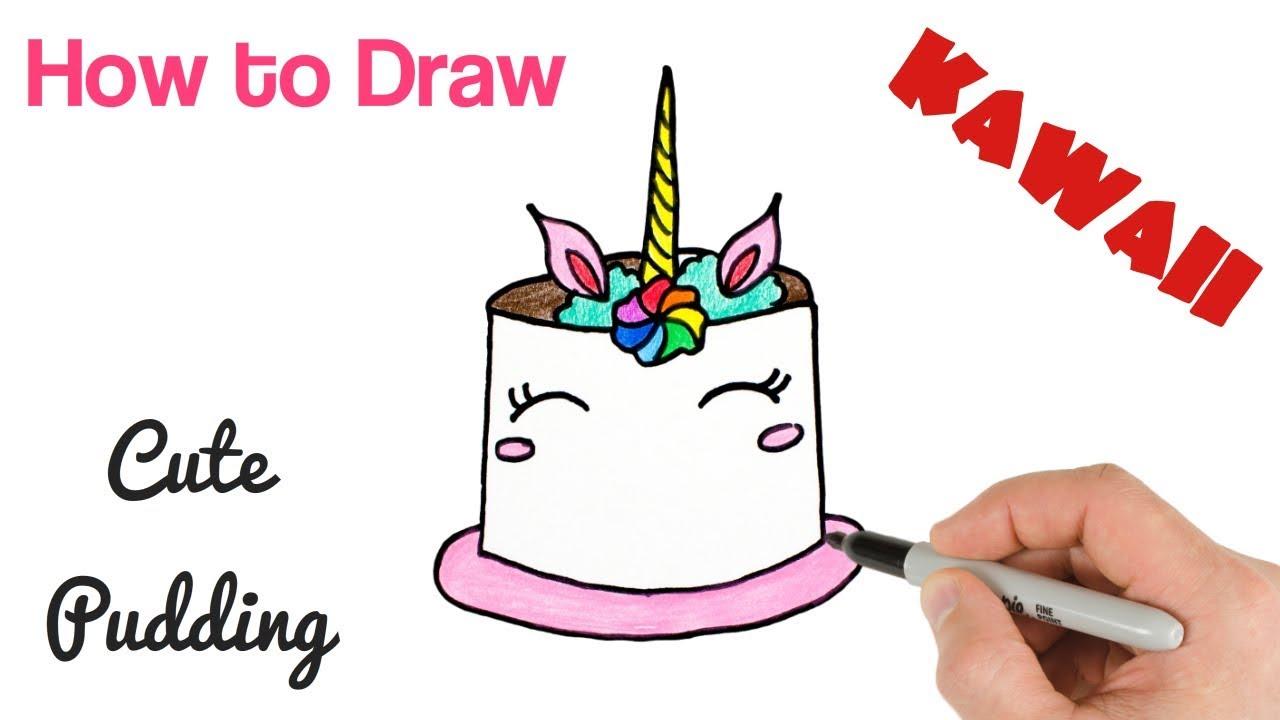 How To Draw Kawaii Food Unicorn Pudding Youtube