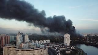 """Пожар в торговом центре """"Синдика"""" 8.10.17 - 65 км МКАД - 4к"""