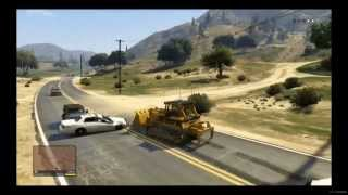 Grand Theft Auto V - Franklin Gameplay - Bulldozer Rampage -