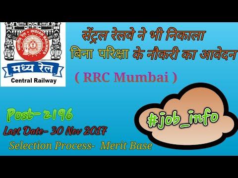 Central Railway- RRC MUMBAI (Trade- apprentice)