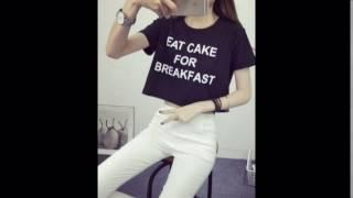 Áo thun nũ xì tin - Áo thun nữ Croptop in chữ EAT CAKE FOR BREAKFAST