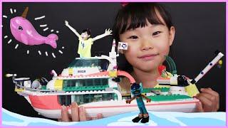 라임의 레고프렌즈 41381 바다지킴이 보트 유니콘 고래 일각고래를 구해라! 레고 블럭 만들기 장난감 놀이 Lego Friends | LimeTube toy review