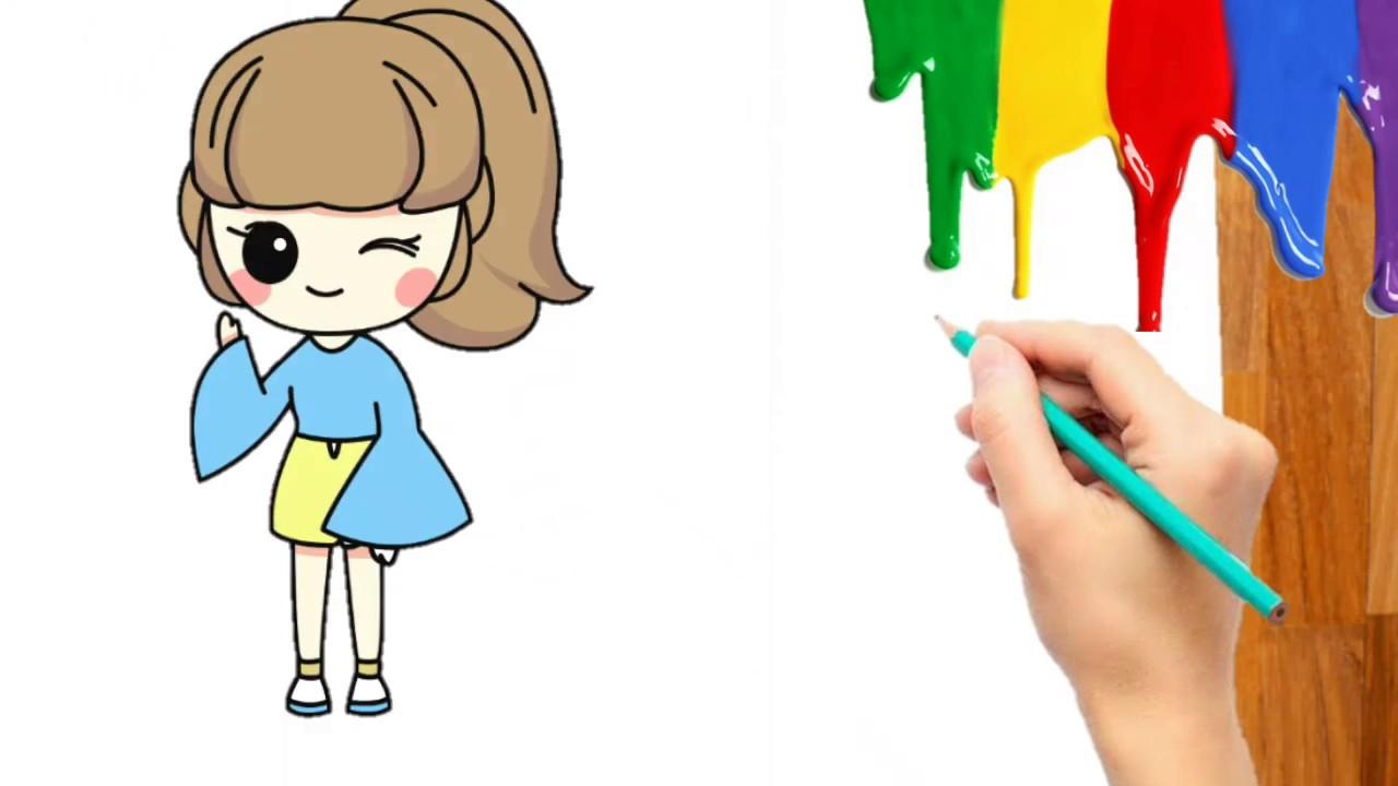 Cara Menggambar Mewarnai Gadis Anak Perempuan Cewek Kartun