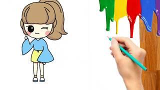 Cara Menggambar Mewarnai Gadis Anak Perempuan Cewek Kartun Untuk Anak Paud Tk Sd Balita Anak2 Youtube