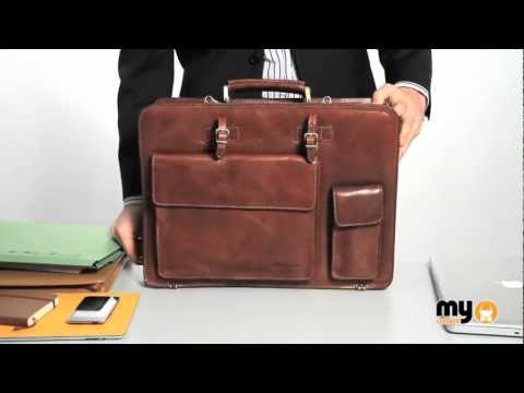 HEILEMANN COLORADO COGNAC ITALIAN BULL LEATHER BRIEFCASE