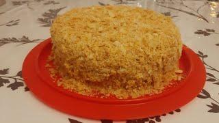 торт Наполеон с заварным кремом со сгущенкой