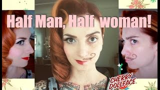 Vintage Half Man, Half Woman Halloween Hair & Makeup Tutorial CHERRY DOLLFACE