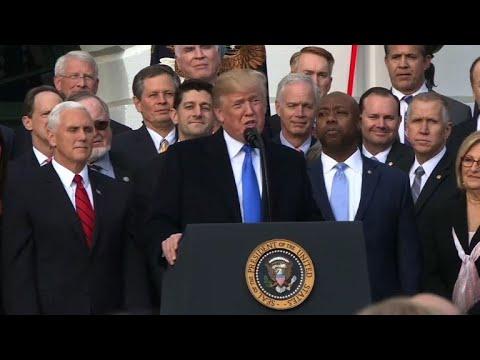 Trump and Republican lawmakers celebrate tax cut