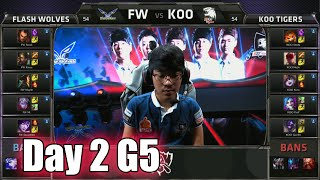 Flash Wolves vs KOO Tigers | Day 2 Game 5 Group A LoL S5 World Championship 2015 | FW vs KOO D2G5