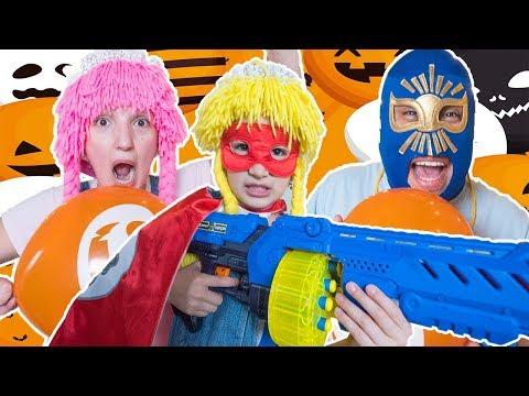 Superhero Nellita fights off Balloon Ghosts Battle with XShot Ninja Turbo Strike Blaster