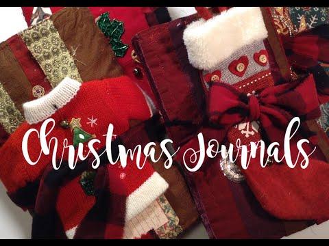 Christmas Junk Journals - Fabric Covers - Printable Christmas Sheets, Journal Kit And Pocket Sets