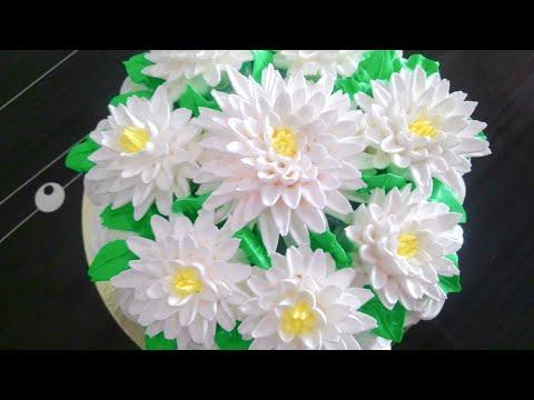 Хризантема из крема. Как сделать хризантему из крема. Наталья Торт