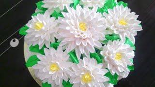 як зробити хризантему на торт з крему