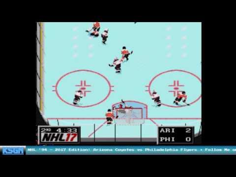 Arizona Coyotes vs Philadelphia Flyers - NHL '94 with NHL '17 Rosters - Sega Genesis