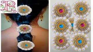How To Make Bridal Hair Accessories Using Pearls    Bridal hair Accessories    Jada Billalu At Home