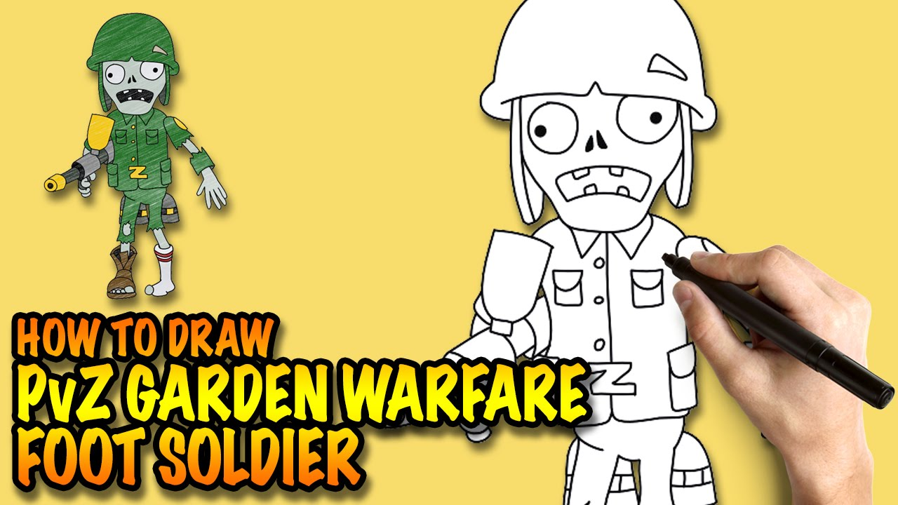 How To Draw A Foot Soldier Pvz Garden Warfare Easy
