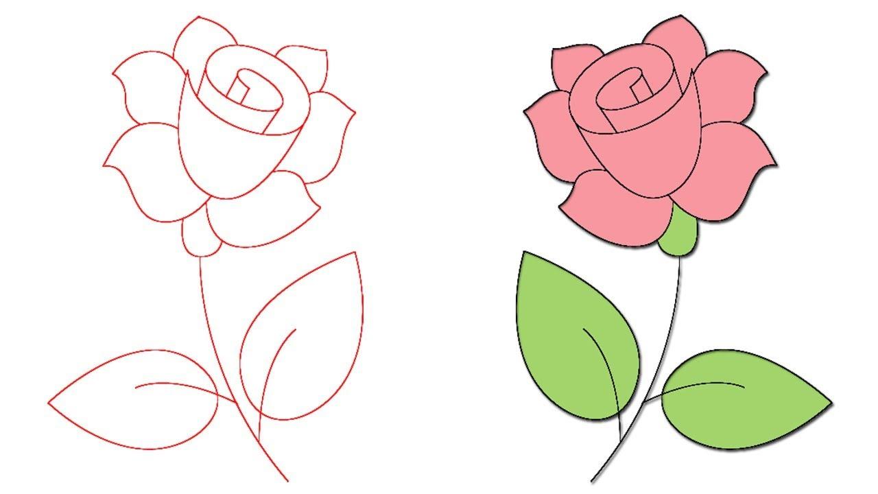 رسم وردة Dibujo Rosa How To Draw A Rose Youtube