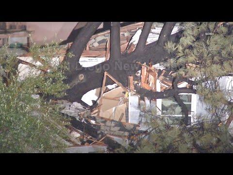 60 foot tree falls onto house causing major damage, La Mesa
