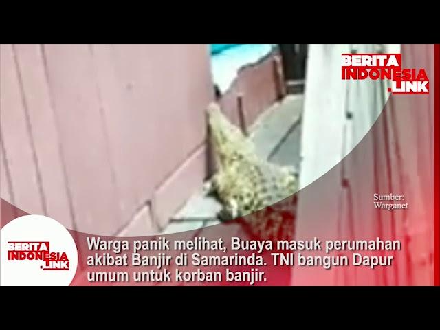 Buaya masuk perumahan akibat Banjir di Samarinda. TNI bangun dapur umum utk korban banjir.