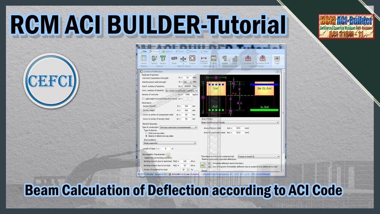 Beam Calculation of Deflection according to ACI Code