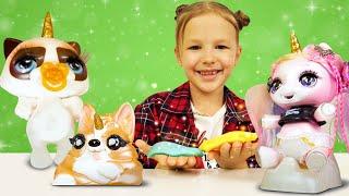 Игры для девочек распаковка - Милые Единорожки и Кошки Пупси Юникорн! Онлайн видео слаймы