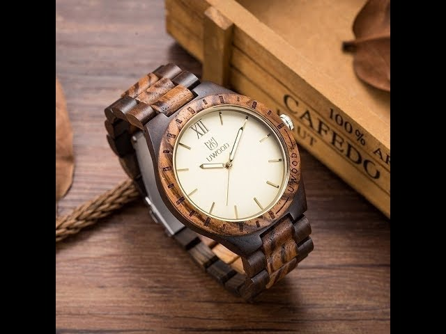 Uwood Natural Solid Wood Wristwatch for Men | Fashion Mens Wooden Watch