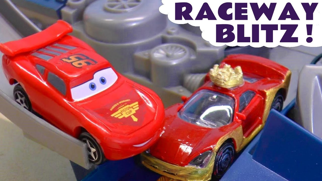 Hot Wheels Cars Raceway Blitz with Disney Cars McQueen and the Family Friendly Funny Funlings